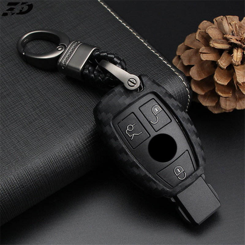 Silica Gel Carbon Fiber Car Key Cover Case For Mercedes Benz W204 W205 W212 C S E Class Keyrings Holders Accessories Car Styling