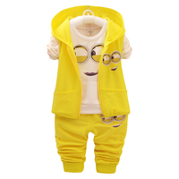New Baby Girls Boys Minions Clothing Sets Kids Autumn Children Cartoon Cotton Suit Hooded Vest Shirt