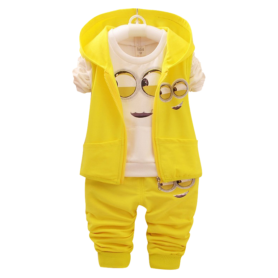 New baby girls boys Minions Clothing Sets Kids Autumn Children Cartoon Cotton Suit Hooded Vest Shirt Pants Clothing Set Hot Sell new baby girls hello kitty clothing sets kids autumn character cotton long sleeve shirt pants 2 piece children clothing set