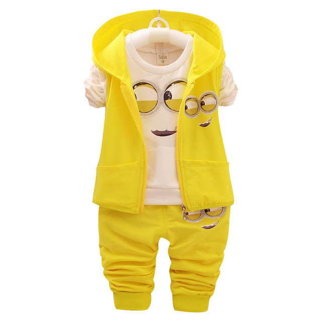 50ab32974 New baby girls boys Minions Clothing Sets Kids Autumn Children ...