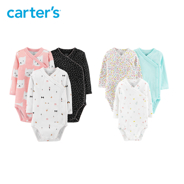Carters 3Pcs Side-Snap Cute Cat Print Polka Dot Print Baby Bodysuits Long Sleeve Body For Newborns Child Girl Clothes 126H437