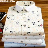 Dudalina Male 100 Cotton 2017 Printing Embroidery Classic Business Men S Shirts Long Sleeve Turndown Collar