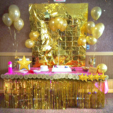QIFU Gold Foil Fringe Table Skirt Metallic Tinsel Curtain Silver Tassel Garlands Rustic We