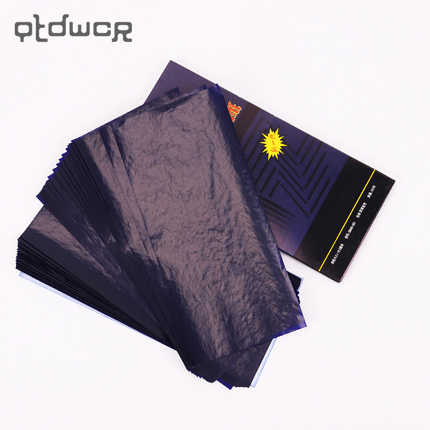 50PCS Office Stationery Carbon Paper 48K Double Sided Blue Thin Type Finance Carbon Paper School Supplies