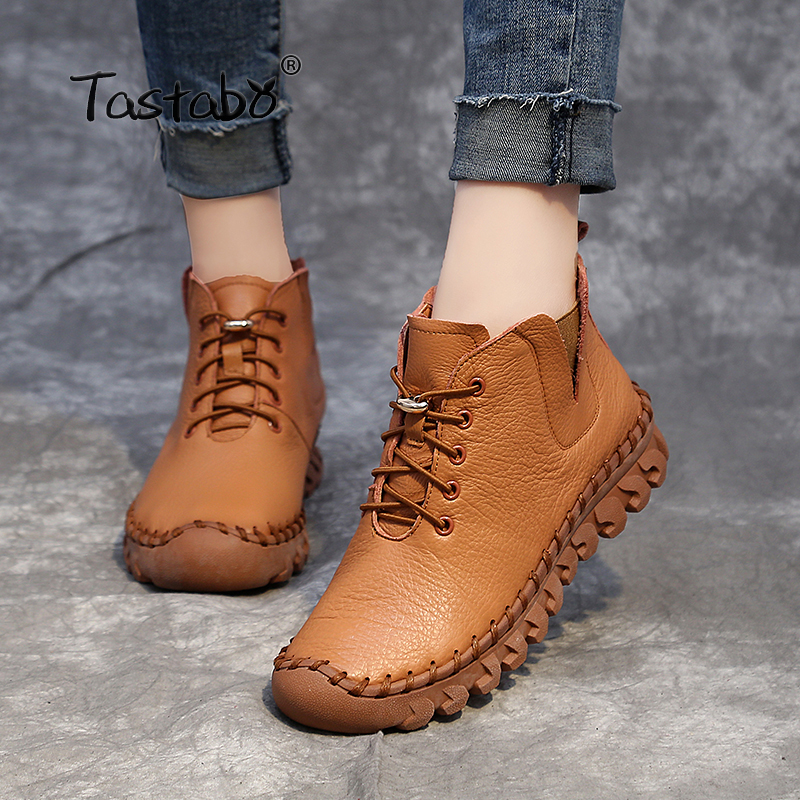 Tastabo Handmade Ankle Boots With Fur Retro Boots Shoes Women Fashion Handmade Slip on Soft Leather