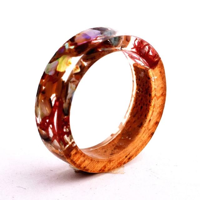 Handmade Flowers Wood Resin Ring43