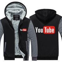 2016 Funny Youtube Logo Printed Hoodies Men You Tube Men Jacket Luxury Brand Thicken Zipper Tops