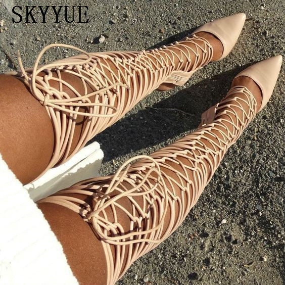 2018 New Genuine Leather Cross Tie Gladiator Lace Up Thigh High Over The Knee HIgh Sandal Boots Sexy Pointed Toe HIgh Heels rose sexy lace tie up high waisted triangle microkini