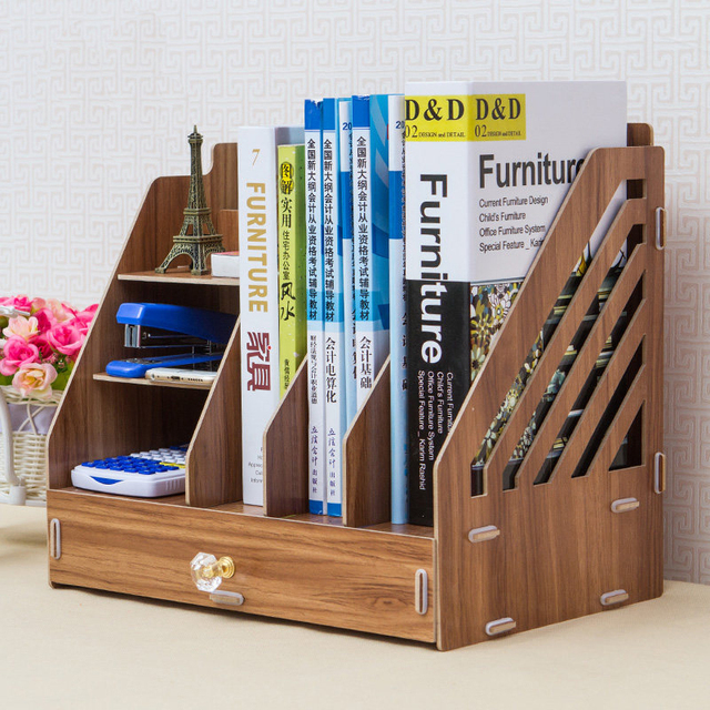 Simple Desktop Storage Box File Information Data Books Magazine Documents Organizer Case Wooden Drawer Bookshelf