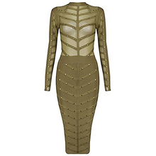 Alice &Elmer Rivet  2016 New  Women's Rayon Long Sleeve   Mesh HL Bandage Dress