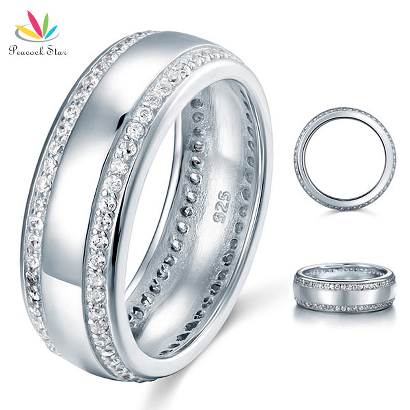 Peacock Star Round Cut Men s Wedding Band Solid 925 Sterling Silver Ring Jewelry CFR8052
