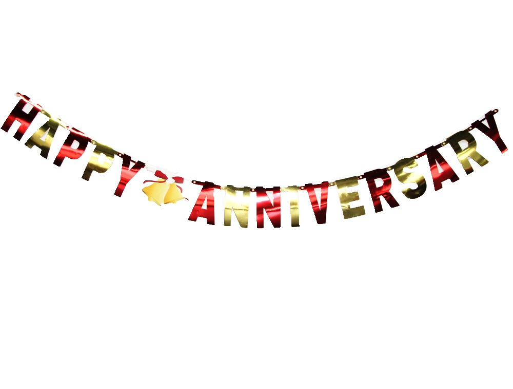 Gold Red Happy Anniversary Banner Anniversary Party Decorations(25th