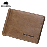 BISON DENIM High Quality First Layer Leather Genuine MINI Money Clips For Men Vintage Slim Design