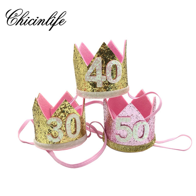 Chicinlife 1Pcs 30 40 50 60th Birthday Adult Party Hat Headband Crown Hairband Gift Her Photo Props Decoration Supplies