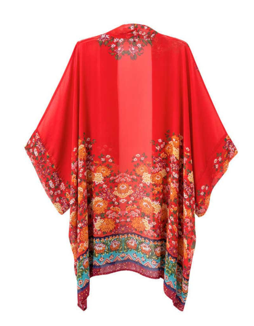 Hot Marketing Women Printed Chiffon Cardigan Blouse Floral Shawl ...