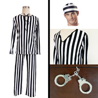 Halloween Vertical Stripes Thin Male Prisoners Clothing Cosplay Dress Sexy Rave Party Costumes With A Hat