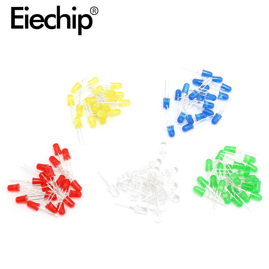 100Pcs F5 <font><b>5MM</b></font> <font><b>LED</b></font> Diode Light <font><b>Red</b></font>/Yellow/Blue/White/Green <font><b>Led</b></font> diode Assorted Kit <font><b>5mm</b></font> <font><b>leds</b></font> light-emitting electronic diy set image