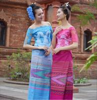 Vietnam Burma Laos Dai Wear Women Short Sleeve Top + Skirt Blue Rose Red Festivals Outfit Fashion Water Sprinkler Festival Suits