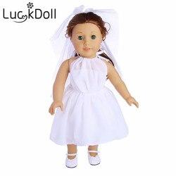 Luckdoll vestido de noiva & sapatos de casamento 2item/conjunto para 18 Polegada boneca americana & 43cm bebê recém-nascido boneca acessórios para bonecas