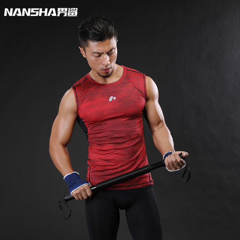 NANSHA 2018 Summer Brand Breathable Quick Dry Men Sporting Vest Clothing Compression   Tank     Tops   Workout Tight Clothes Sportwear