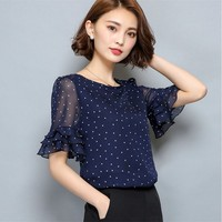 2017 Women Short Sleeve Ciffon Blouse Fashion Casual Shirts Loose Tops Polka Dot O Neck Chiffon