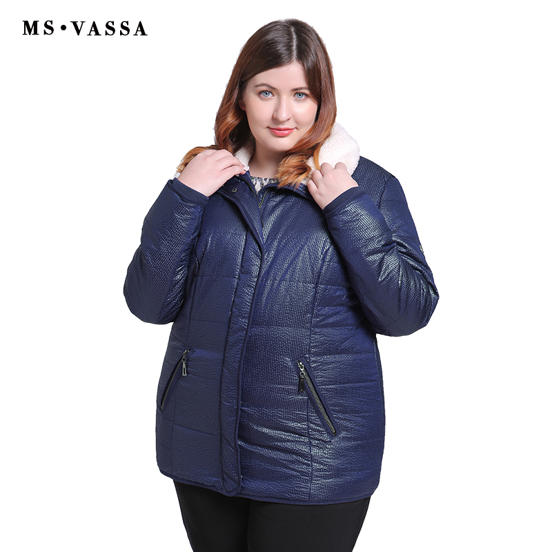 MS VASSA Women Jackets 2019 New Spring Autumn   Parkas   Ladies casual coats with fur collar plus size 5XL 6XL female outerwear