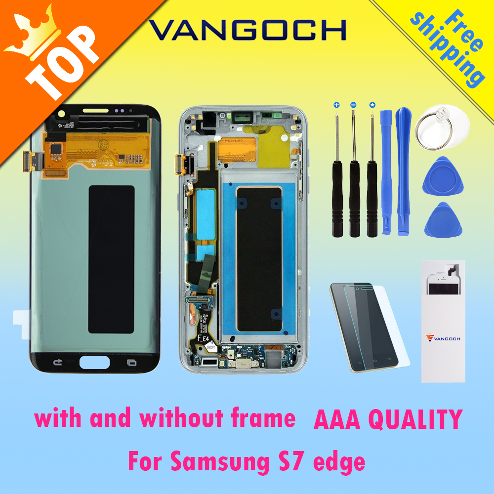 A++ Original Super Amoled Lcd Screen for Samsung Galaxy S7 edge Display G935F G935FD Assembly Replacement with and without frame