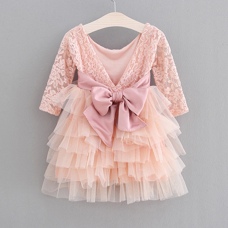 Girls Dress 2019 New Lace Tulle Cake Girls Summer Dress Lace Long-Sleeve Gown Princess Dress Kids Dresses For Girls