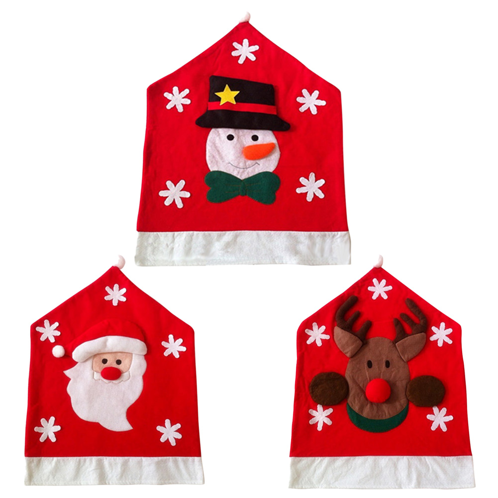 Christmas Santa ClausChristmas Snowman Woven Chair Set Kitchen Covers For Decorations 50