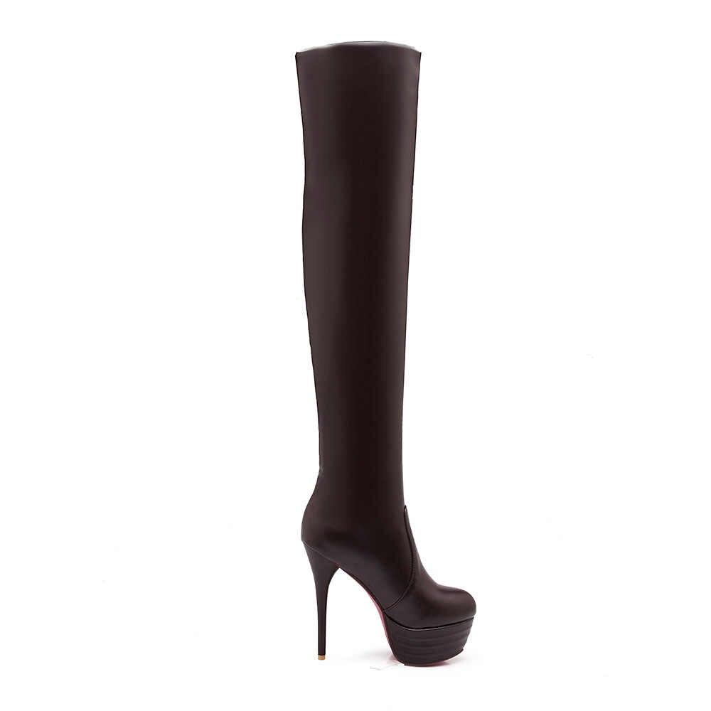 หนัง Faux ผู้หญิงกว่าเข่าบู๊ทส์เซ็กซี่บางส้นต้นขาสูงบู๊ทส์แฟชั่นฤดูหนาวผู้หญิงรองเท้า DropShipping