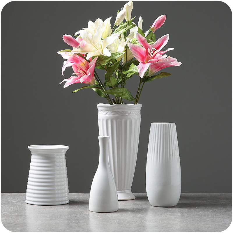 Home Decor Classic Handmade White Ceramic Flower Vase