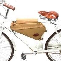 Tourbon Retro Bisiklet Çanta Bisiklet Çerçeve Tüp Üçgen Çanta Sırt Çantası Haki Mumlu Tuval Su Geçirmez için Banliyö Bisiklet Aksesuarları