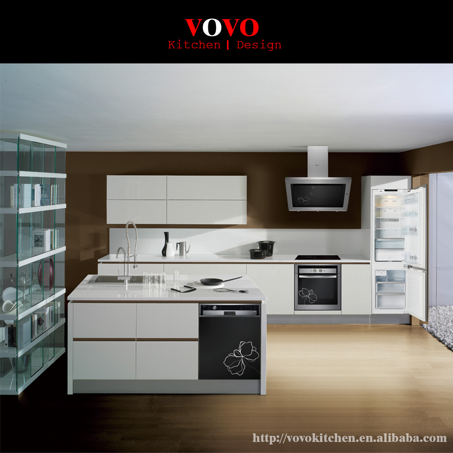 Gloss White Kitchen Cabinets: Lacquer Kitchen Cabinet White High Glossy-in Kitchen