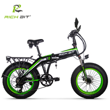 RICHBIT 500W 48V 20inch Fat Tire ebike Electric Bike Folding Snow Electric Bicycle Suspension Turning lights Mirrror Disc Brake