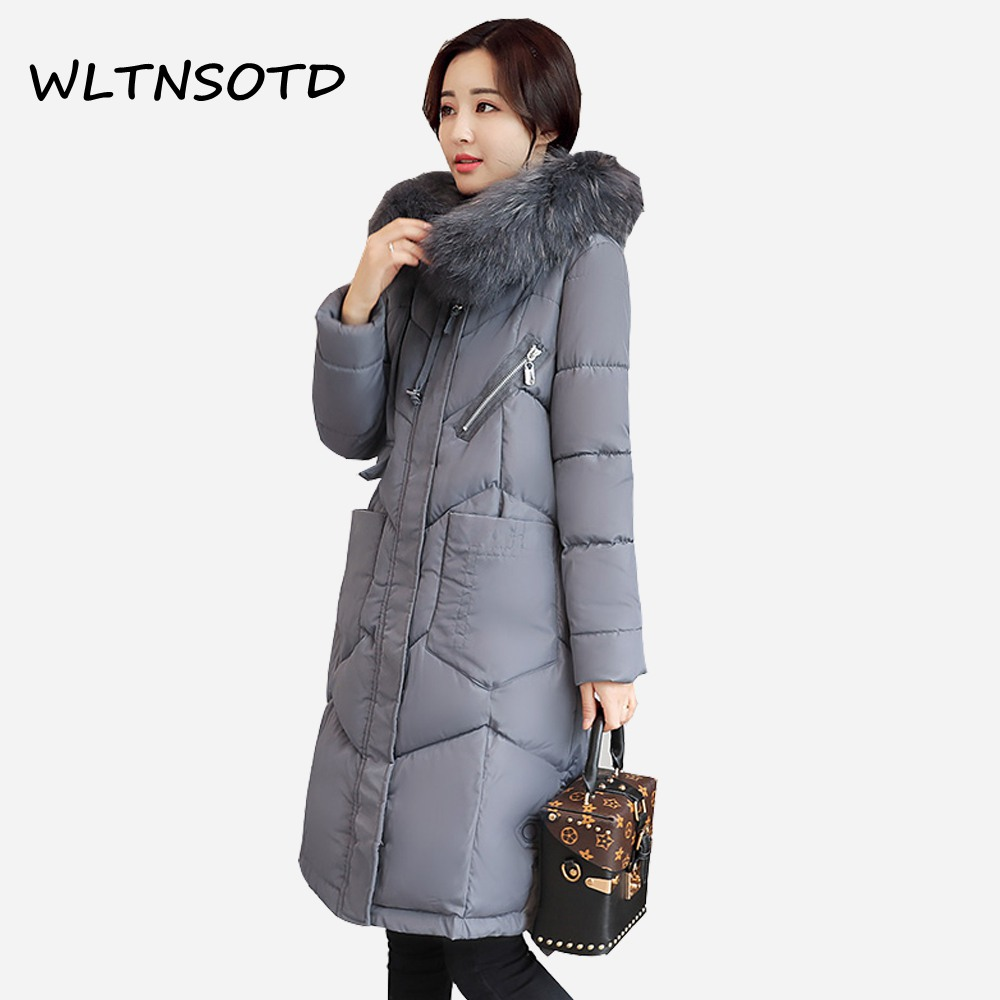 2017 new winter cotton coat women X-Long Slim hooded fur collar zipper warm jacket Female fashion Big pocket Parkas 2017 new winter fashion women down jacket hooded thick super warm medium long female coat long sleeve slim big yards parkas nz18