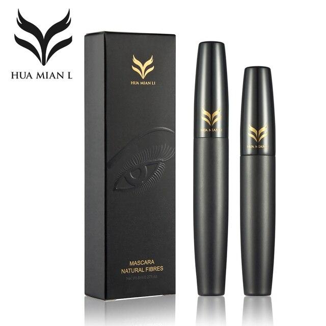 2 шт./лот huamianli тушь макияж установить черный 3d тушь + натуральное волокно ресниц водонепроницаемый керлинг колоссальный удлинение косметическая