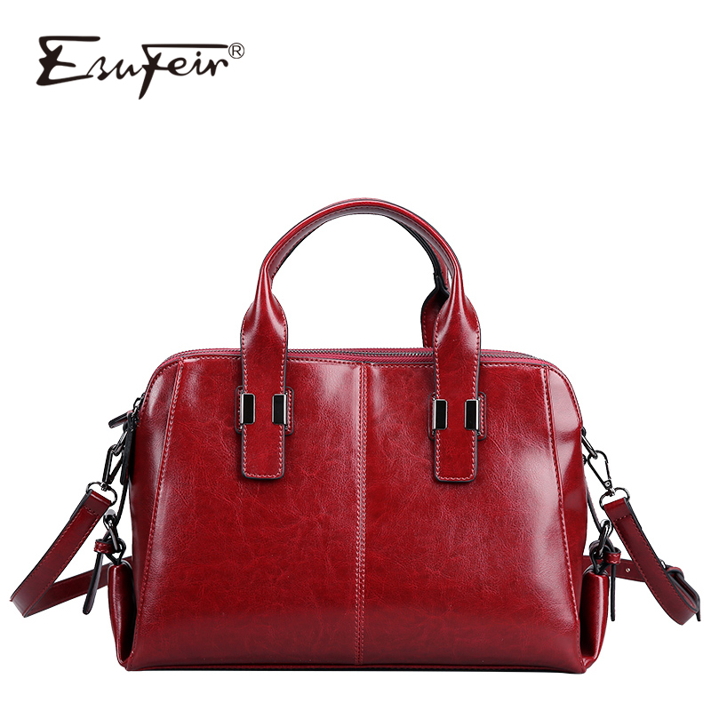 Genuine Leather Women Handbag Oil Wax Cow Leather Shoulder Bag Luxury Handbags Women bags Designer Fashion Brand Casual Tote bag sisjuly 2017 new leather bag women handbags casual tote luxury brand designer oil wax lady shoulder bags female sac a main
