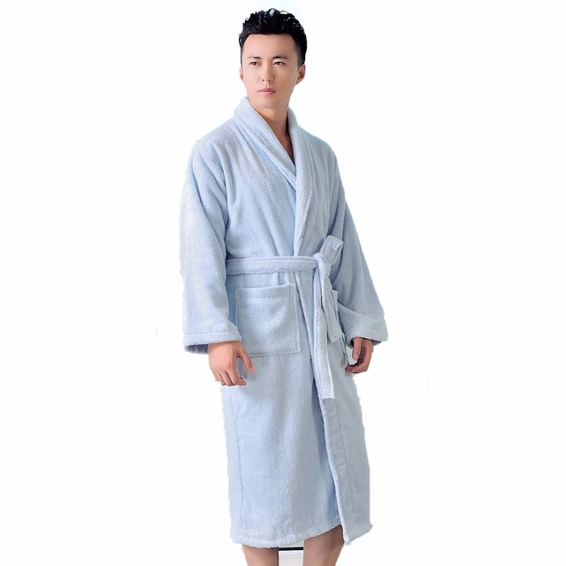 High End Bathrobe Men Cotton Women Nightgown Mens