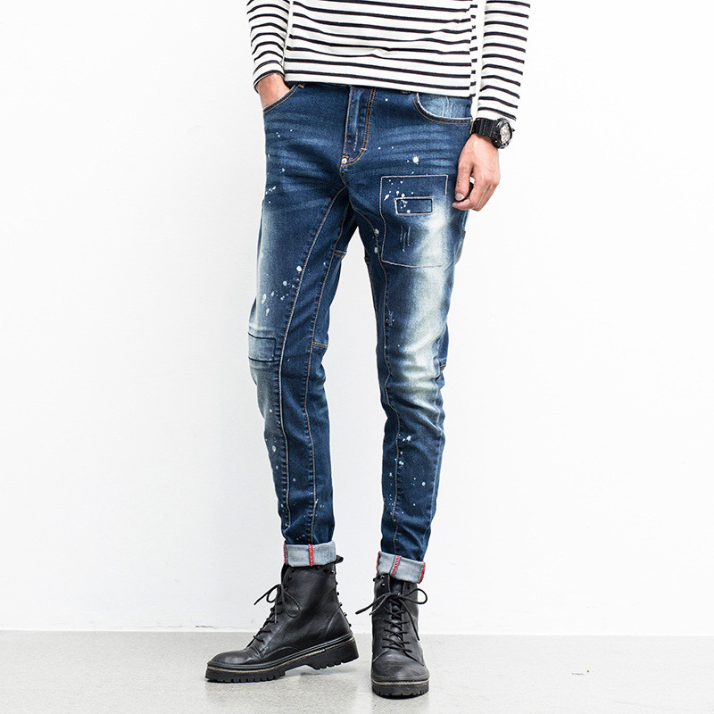 ФОТО Mens Jeans Men 2016 New Arrival Brand Clothing Blue Slim Fit Casual Denim Pants High Quality Plus Size Biker Jeans Free Shipping