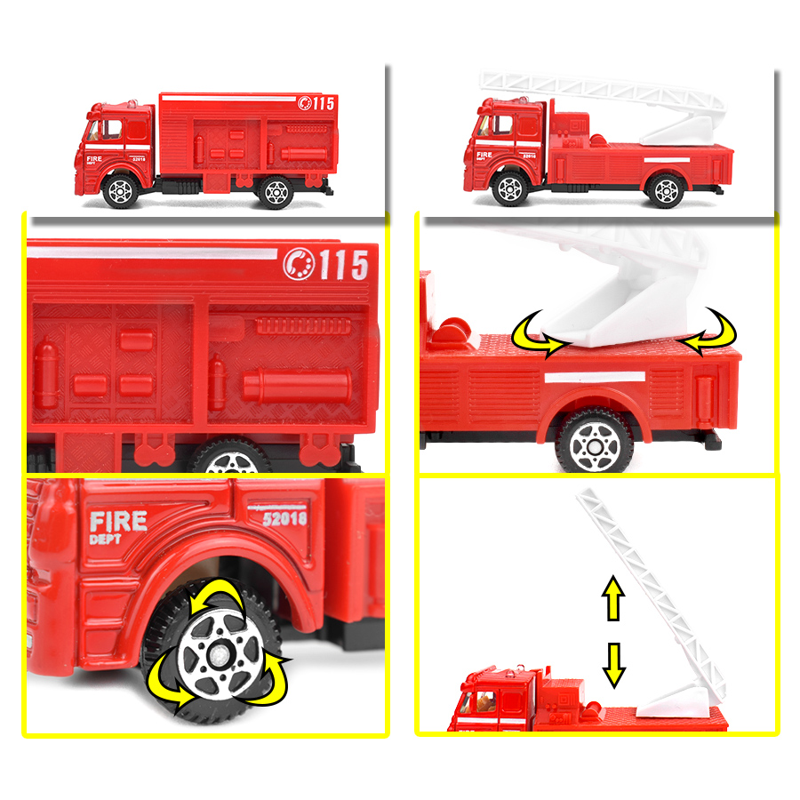 Image 5 - 6 Kinds Diecast Fire Truck Mini Alloy Glide Car Model Toys Plastic Vehicles Toys Helicopter Speedboat Gifts for Boys Kids Game-in Diecasts & Toy Vehicles from Toys & Hobbies