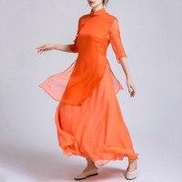 Элегантное Брендовое весенне летнее и осеннее Оригинальное оранжевое шелковое женское платье, легкое роскошное платье высокого качества н