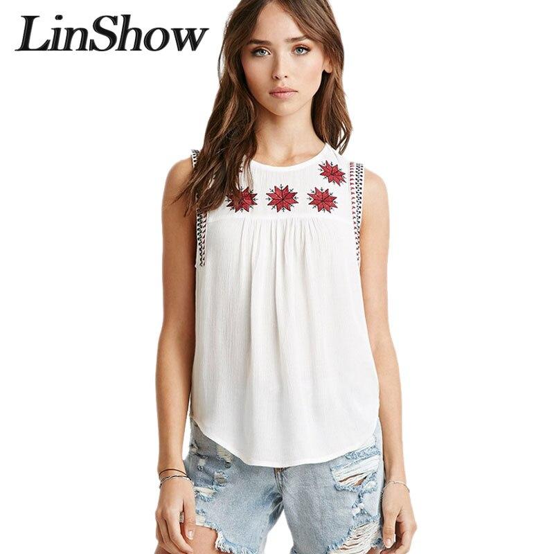 Bordado para mujer camisas blancas sin mangas nuevo estilo