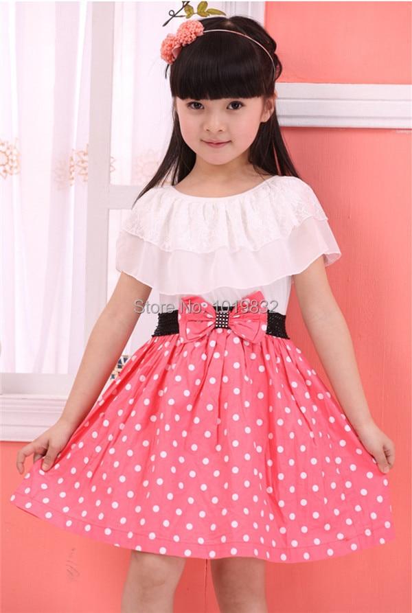Sweet Girl Vestidos de Color Rosa Con Blanco Del Lunar Vestidos de ...