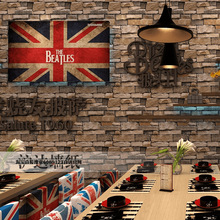 3D simulation brick pattern wallpaper retro nostalgic personality stone bar cafe KTV industrial style