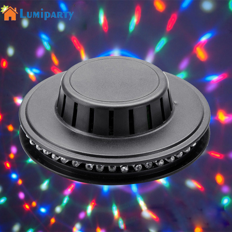 LumiParty 48 LEDs RGB Beam Lamp UFO Sun Shape Voice-activated Colorful Light with Rotating for Stage Party Disco DJ Bar KTV