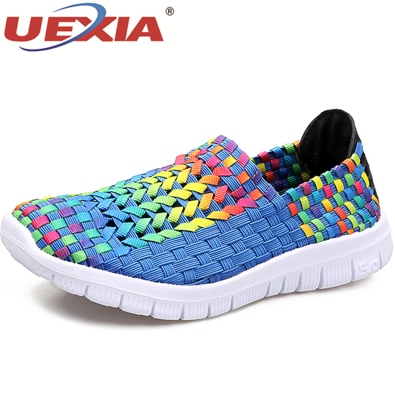 UEXIA Women Shoes Summer Breathable Handmade Casual Shoes Sneakers Trainers Fashion Comfortable High Quality Women Woven Shoes 2016 new fashion fur collar women coat sexy ladies wool sweater double breasted thick skirt cotton dress 3 colors size s 2xl page 4 page 5 page 4 page 3