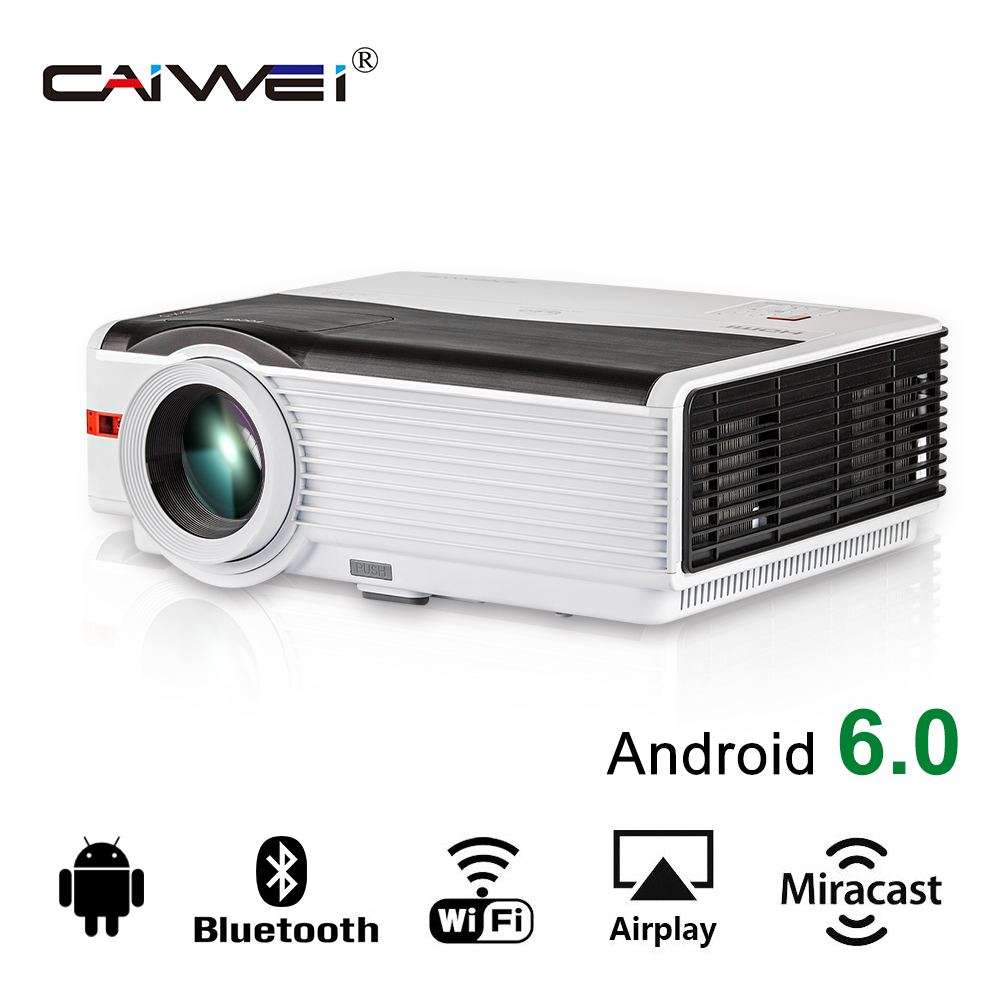 лучшая цена CAIWEI Android Bluetooth WiFi Airplay Miracast 5000LM 1080p TV Movie LED Projector HD home Theater Proyector Beamer High Quality