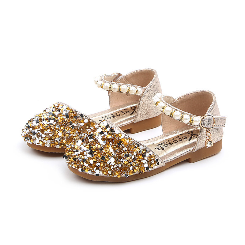 COZULMA Spring Summer Baby Girls Shoes Kids Sequined Princess Shoes For Girls Pearl Beading Sandals Children Rhinestone Shoes