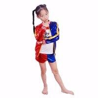 3 Vision Kids Girls Suicide Squad Harley Quinn Costume Halloween Carnival Costume Harley Quinn Jacket Underwear