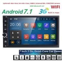 2 din Android 7.1 OS 2GB RAM 16GB ROM Car Radio GPS navigation Quad Core 7 inch 1024*600 screen 3G WIFI OBD Bluetooth SWC DAB+